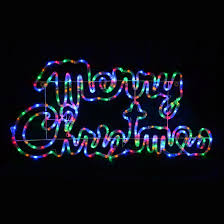 multi coloured led rope light outdoor merry sign