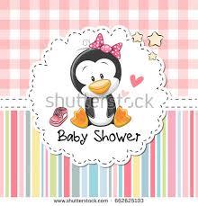penguin baby shower baby shower greeting card stock illustration
