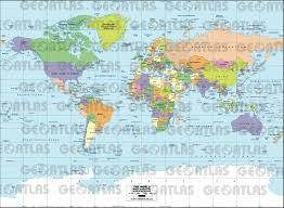 World Maps by Geoatlas World Maps Miller Projection Map City Illustrator