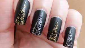 easy prom nails black matte with glitter nail art design