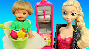 new barbie frozen yogurt restaurant with disney princess dolls