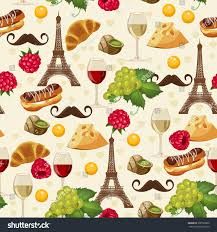 seamless pattern french style food background stock vector