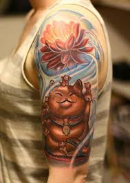 tattoo cat neko a japanese maeneko lucky cat tattoo with a lotus flower and kittens