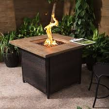 Gas Firepit Royal Rattan And Fibreglass Square Gas Firepit In Mixed Brown