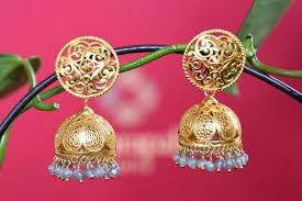 jhumka earrings online buy online silver gold plated jhumka earrings with hanging blue