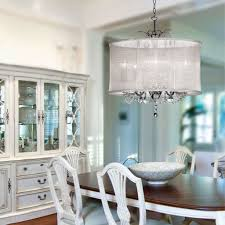 chandeliers for dining room traditional organza silk drum shade