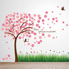 wall stickers uk wall art stickers kitchen wall stickers ay768 colourful ladybird grass ws9046 pink cherry blossom