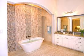 amusing french country bathroom with mosaic wall and white bathtub