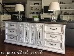 a painted nest light gray and black distressed buffet or