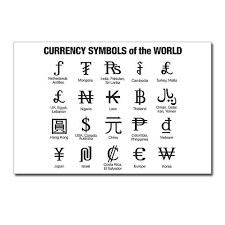 currency symbols of the world postcards around the world clip