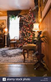 living room with christmas tree inside a 1904 victorian old house