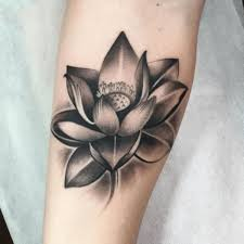 black ink lotus flower tattoo design for sleeve