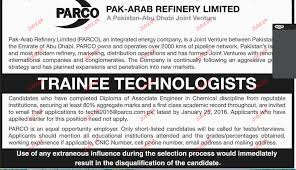 Refinery Operator Trainee Trainee Technologists Job Opportunity 2017 Jobs Pakistan Jobz Pk