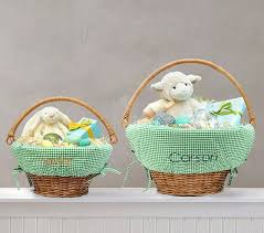 personalized easter basket liner gingham easter basket liners pottery barn kids