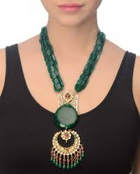 bead necklace with pendant images Necklaces green beads necklace with crescent pendant anjali jain jpg