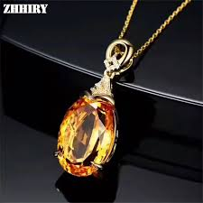 yellow gemstone necklace images Natural yellow citrine necklace pendant genuine solid 925 sterling jpg