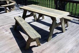 diy patio picnic bench table set with solid wooden table and