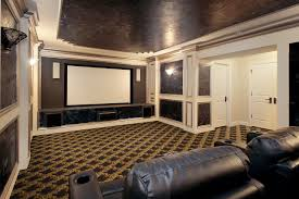 interior chic ivory home theater feature marble accent wall