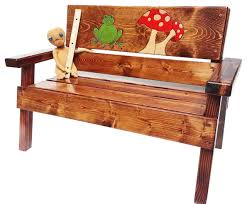 Engraved Benches Happy Garden Bench Engraved Frog And Mushroom Design Rustic