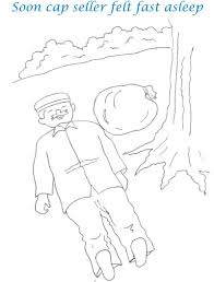 cap seller story coloring page for kids 6
