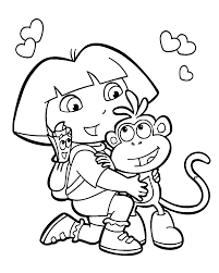 dora and monkey coloring pages for kids printable free coloring