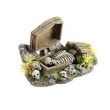 air operated coffin skeleton aquarium ornament spooky scary