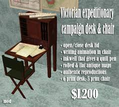 Campaign Desk Antique Second Life Marketplace Mnm Victorian Expeditionary Campaign