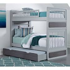 NE Kids East End Jet Twin Over Twin Bunk Bed With Trundle In Gray - Ne kids bunk beds