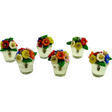 vintage glass flower pot place card holders set of six from
