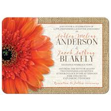 rustic orange daisy burlap lace wedding invitation