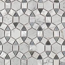 Best 10 Black Hexagon Tile by Splashback Tile Noble Hexagon White Carrera And Moonstone 9 3 4 In