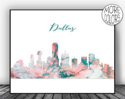 dallas skyline etsy