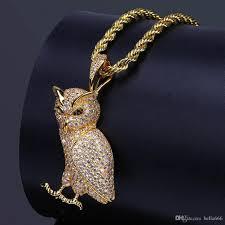 long gold owl necklace images Wholesale 18k gold plated men 39 s hip hop owl pendant necklace jpg