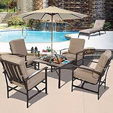 Patio Sets With Fire Pit Amazon Com Ghp Outdoor Patio 5 Piece Chair U0026 Bbq Stove Fire Pit