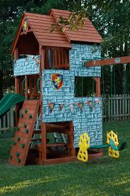 backyard swing set turned castle