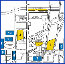 hotels ohio linuxfest map showing parking areas