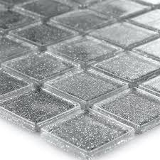 clear glass mosaic tiles silver glitter 25x25x4mm www mosafil co uk