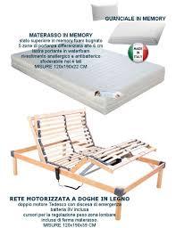 peso materasso rete elettrica a doghe in legno con materasso memory 120x190