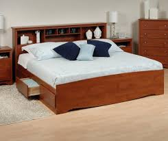 King Headboard Cherry Platform Storage Bed W Bookcase Headboard Bed Size King Color