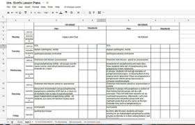 Spreadsheet Lesson Plans For Middle 12 Ela Common Weekly Lesson Plan Template In Excel Or