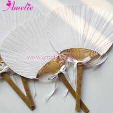 paddle fans 20pcs lot free shipping white wedding paddle fan with ribbons