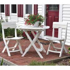 White Patio Dining Set by Adams Manufacturing Quik Fold White 3 Piece Patio Cafe Set 8590 48