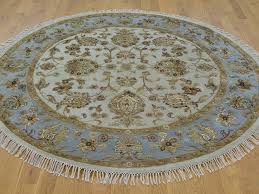 Round Rug 6 by 6 U0027 X 6 U0027 Round Ivory Hand Knotted Rajasthan Wool And Silk Oriental