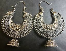 jhumka earrings sale vintage antique silver tone ring chand bali indian
