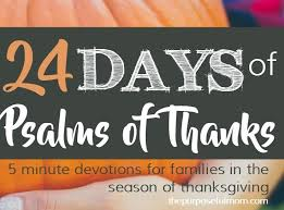 24 days of psalms of thanks five minute devotions for families