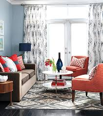 White Curtains With Blue Trim Decorating Decorating With Shades Of Coral