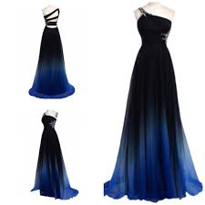 single shoulder black with blue ombre prom dress on the hunt
