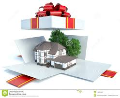 model of a house in gift box with red ribbon stock illustration