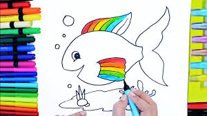 draw color paint cute rainbow fish coloring pages and learn colors