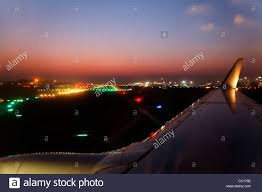 model airport runway lights horizon landscape of night time runway lights mumbai international